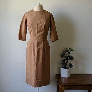 Vintage wool quarter sleeve wiggle dress